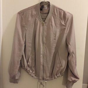 Silky beige nude bomber jacket